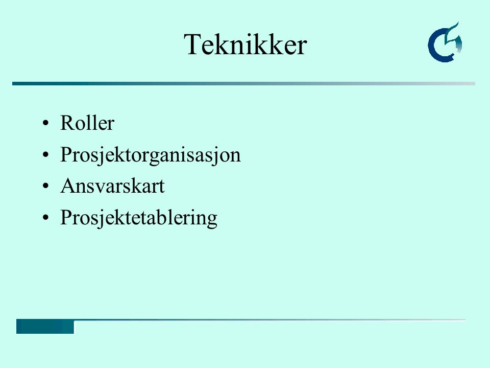 Teknikker Roller Prosjektorganisasjon Ansvarskart Prosjektetablering
