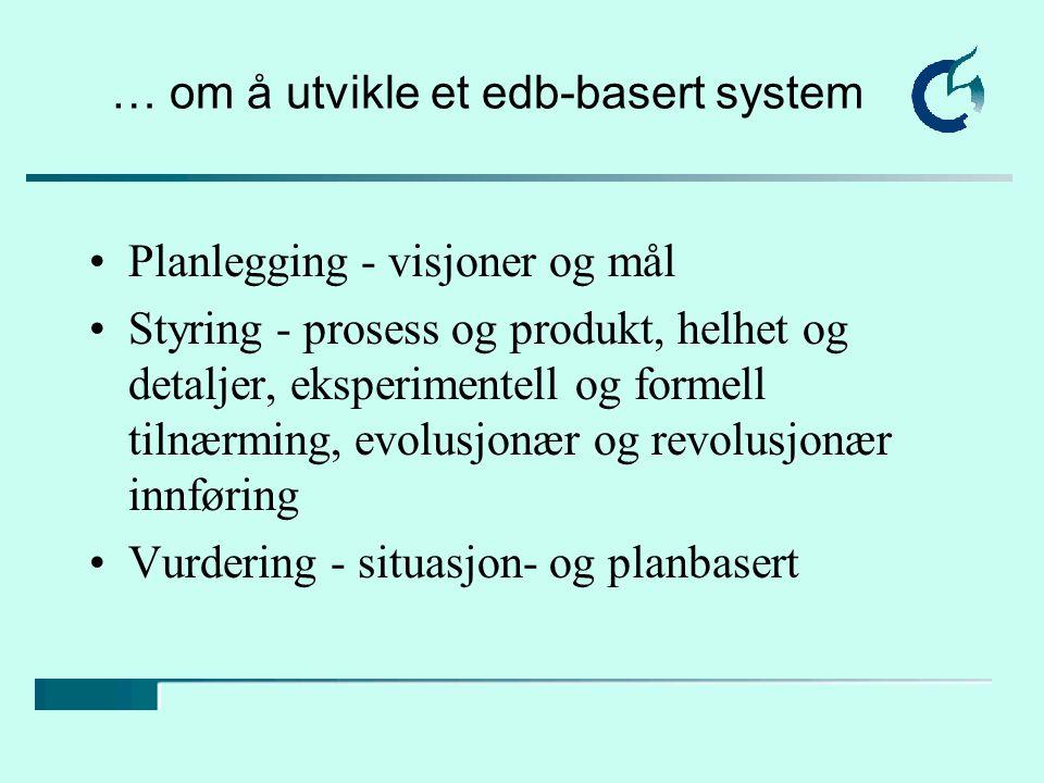 … om å utvikle et edb-basert system Planlegging - visjoner og mål Styring - prosess og produkt, helhet og detaljer, eksperimentell og formell tilnærming, evolusjonær og revolusjonær innføring Vurdering - situasjon- og planbasert