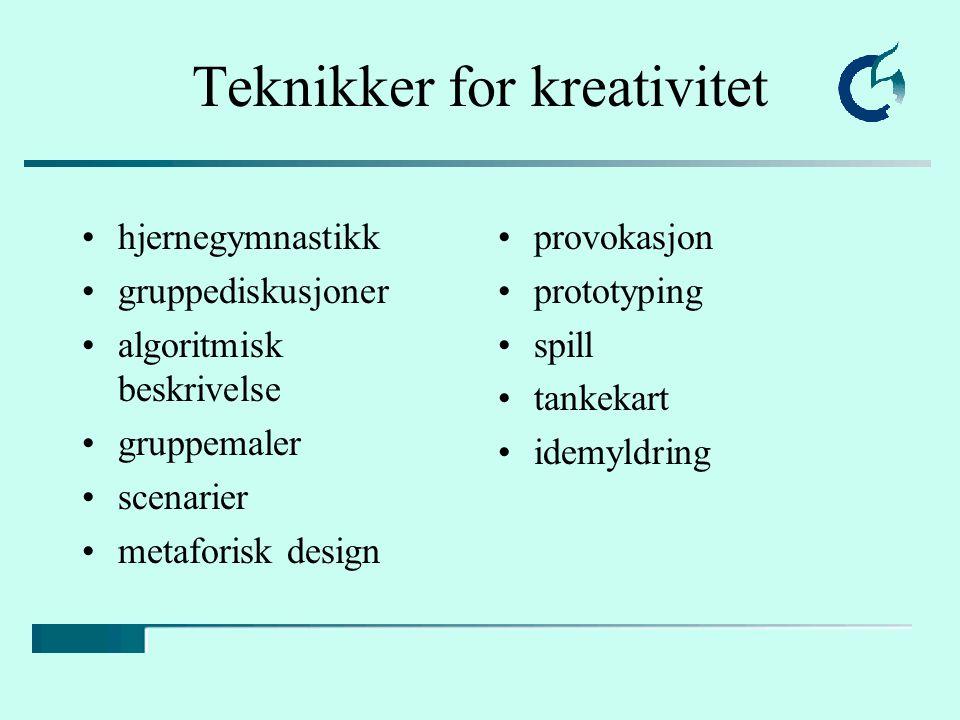 Teknikker for kreativitet hjernegymnastikk gruppediskusjoner algoritmisk beskrivelse gruppemaler scenarier metaforisk design provokasjon prototyping spill tankekart idemyldring