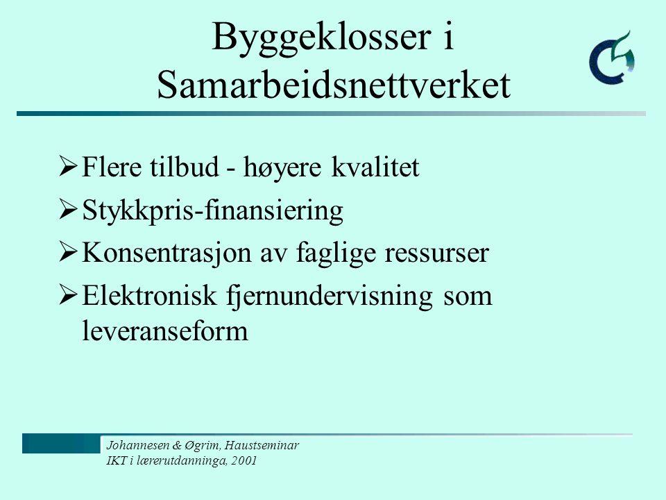 Johannesen & Øgrim, Haustseminar IKT i lærerutdanninga, 2001 Byggeklosser i Samarbeidsnettverket  Flere tilbud - høyere kvalitet  Stykkpris-finansiering  Konsentrasjon av faglige ressurser  Elektronisk fjernundervisning som leveranseform