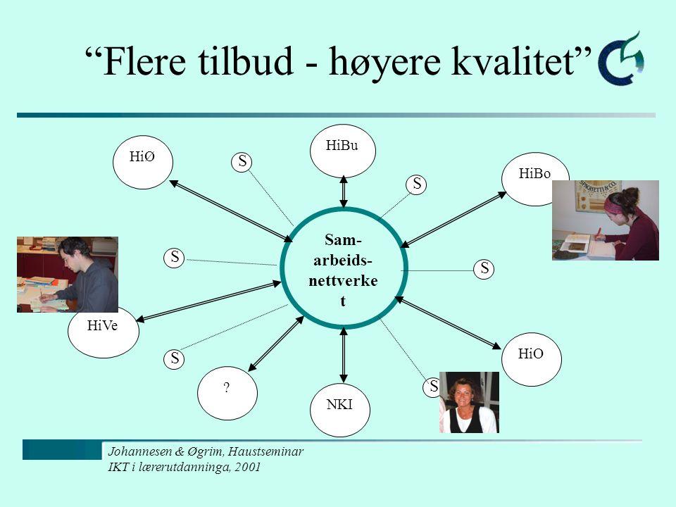 "Johannesen & Øgrim, Haustseminar IKT i lærerutdanninga, 2001 ""Flere tilbud - høyere kvalitet"" Sam- arbeids- nettverke t HiBo HiO NKI HiVe HiØ HiBu ? S"