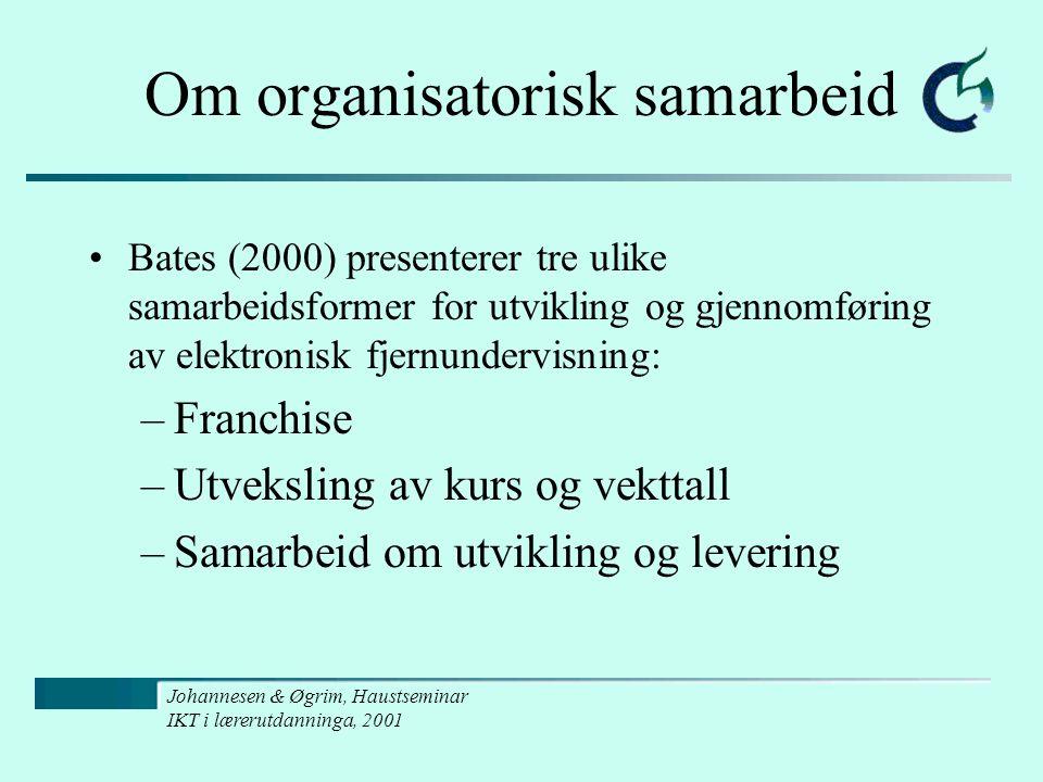 Johannesen & Øgrim, Haustseminar IKT i lærerutdanninga, 2001 Om organisatorisk samarbeid Bates (2000) presenterer tre ulike samarbeidsformer for utvik