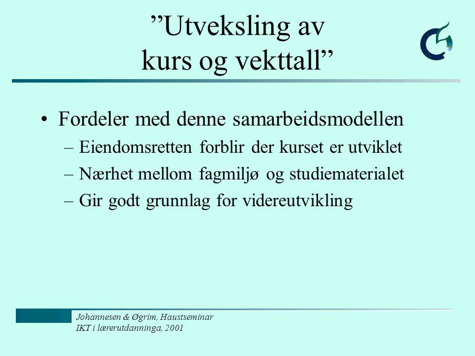 """Johannesen & Øgrim, Haustseminar IKT i lærerutdanninga, 2001 """"Utveksling av kurs og vekttall"""" Fordeler med denne samarbeidsmodellen –Eiendomsretten fo"""