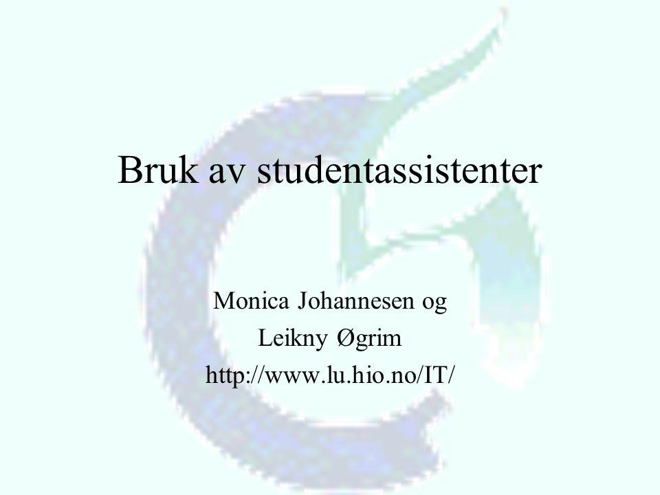 Bruk av studentassistenter Monica Johannesen og Leikny Øgrim http://www.lu.hio.no/IT/