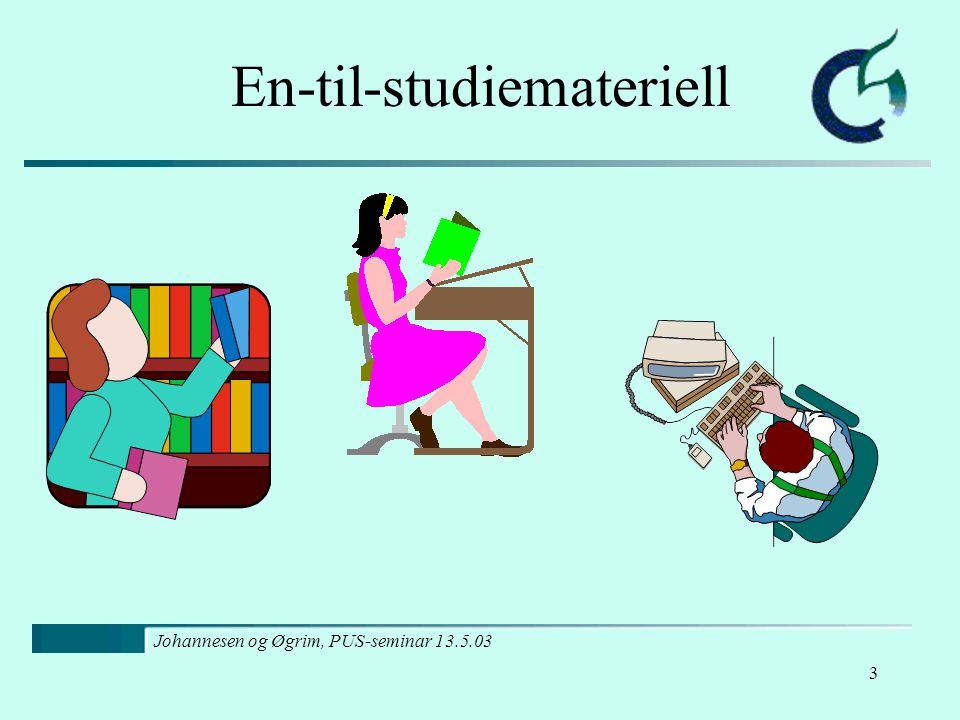 Johannesen og Øgrim, PUS-seminar 13.5.03 3 En-til-studiemateriell