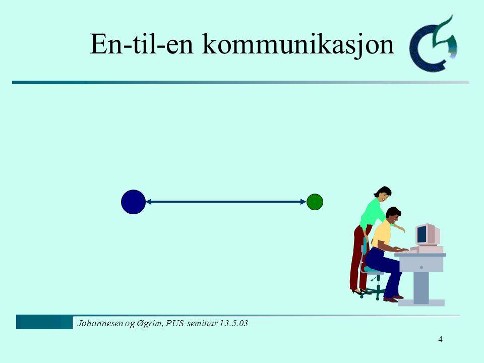 Johannesen og Øgrim, PUS-seminar 13.5.03 5 En-til-mange kommunikasjon
