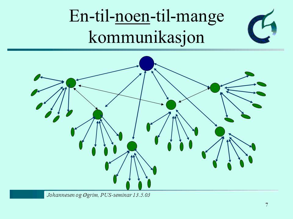 Johannesen og Øgrim, PUS-seminar 13.5.03 7 En-til-noen-til-mange kommunikasjon