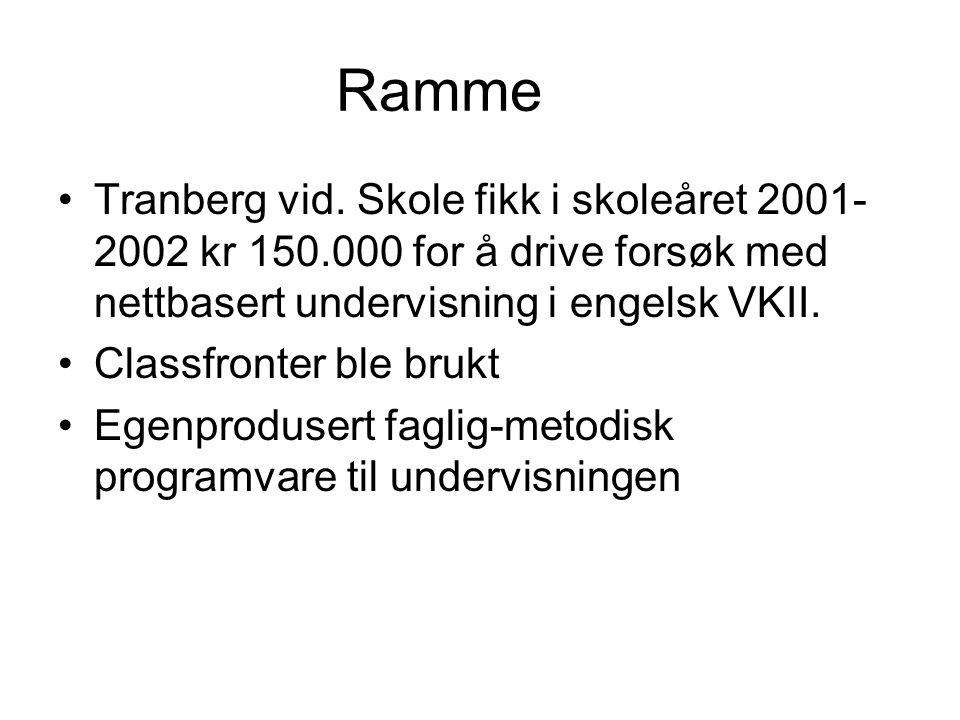 Ramme Tranberg vid. Skole fikk i skoleåret 2001- 2002 kr 150.000 for å drive forsøk med nettbasert undervisning i engelsk VKII. Classfronter ble brukt