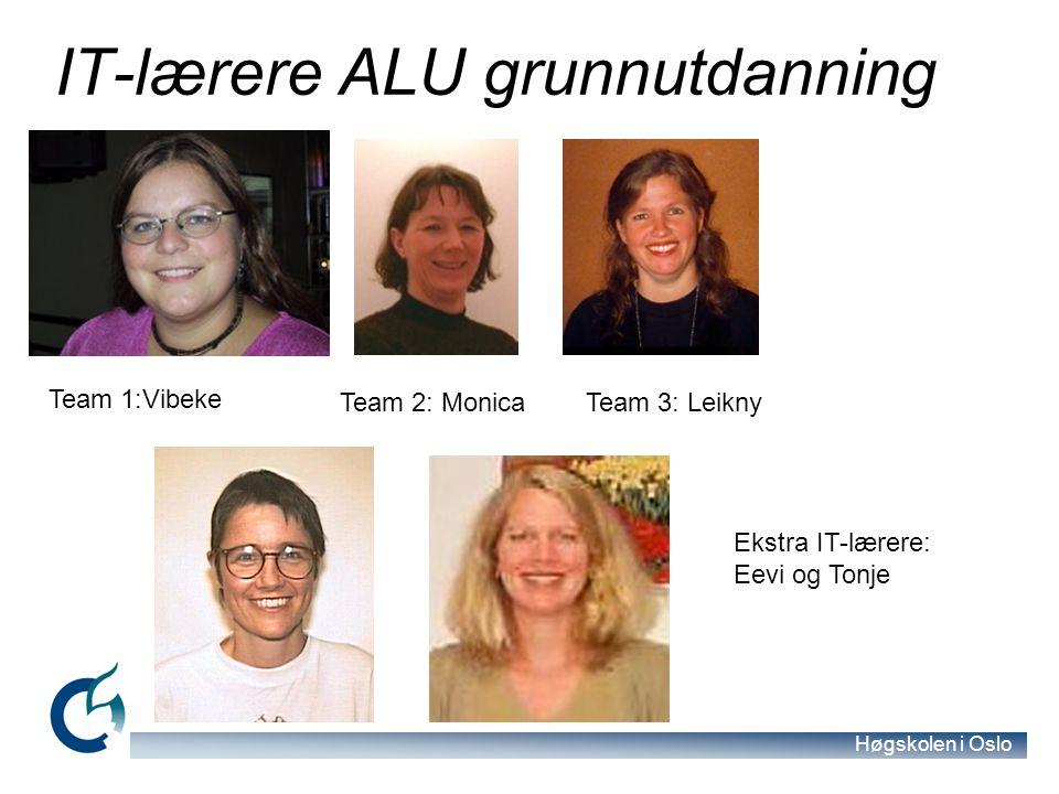 Høgskolen i Oslo IT-lærere ALU grunnutdanning Team 1:Vibeke Team 2: Monica Team 3: Leikny Ekstra IT-lærere: Eevi og Tonje