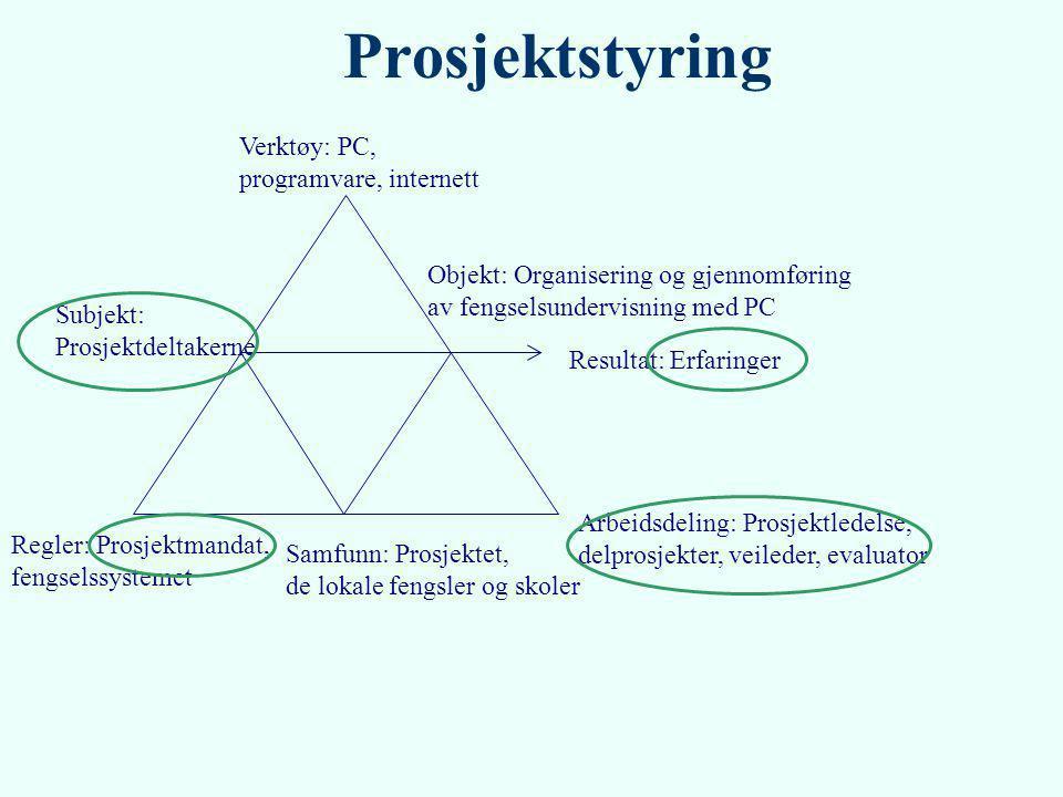 Verktøy: PC, programvare, internett Subjekt: Prosjektdeltakerne Regler: Prosjektmandat, fengselssystemet Objekt: Organisering og gjennomføring av feng