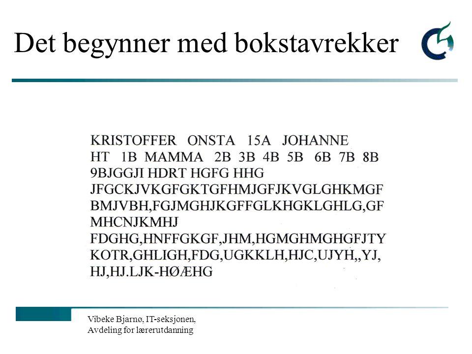Vibeke Bjarnø, IT-seksjonen, Avdeling for lærerutdanning IKT ikke som eget fag, men i beste fall et effektivt læremiddel! Norsk: Lese og skrive: bli f