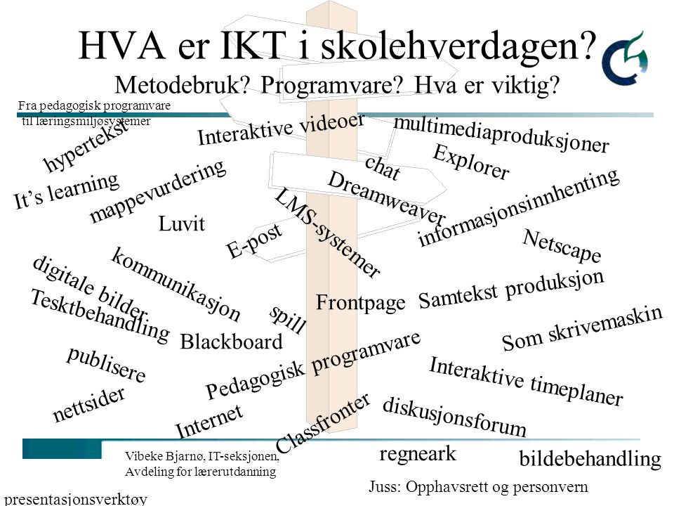 Vibeke Bjarnø, IT-seksjonen, Avdeling for lærerutdanning Fra pedagogisk programvare til elektroniske læremidler - og læringsmiljøsystemer (LMS)
