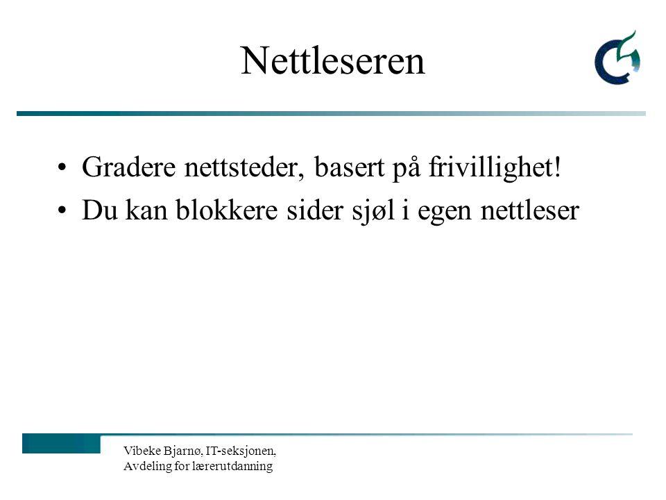Vibeke Bjarnø, IT-seksjonen, Avdeling for lærerutdanning Tre hovedkilder Internettleverandøren Nettleseren Spesialprogrammer