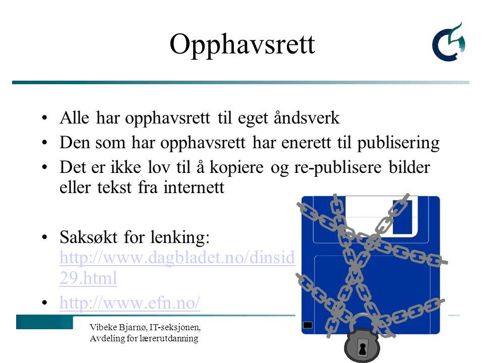 Vibeke Bjarnø, IT-seksjonen, Avdeling for lærerutdanning Personvern Generell regel: personopplysninger kan ikke lagres uten aktivt samtykke Informasjo