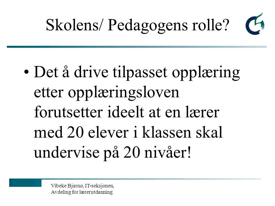 Vibeke Bjarnø, IT-seksjonen, Avdeling for lærerutdanning Skolens/ Pedagogens rolle.