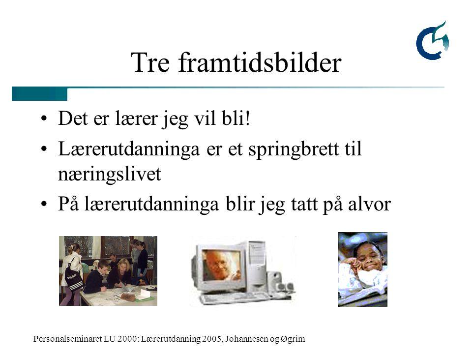 Personalseminaret LU 2000: Lærerutdanning 2005, Johannesen og Øgrim Tre framtidsbilder Det er lærer jeg vil bli! Lærerutdanninga er et springbrett til