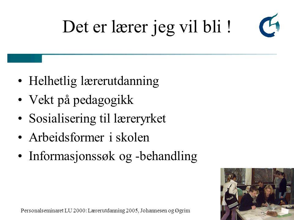 Personalseminaret LU 2000: Lærerutdanning 2005, Johannesen og Øgrim Det er lærer jeg vil bli ! Helhetlig lærerutdanning Vekt på pedagogikk Sosialiseri