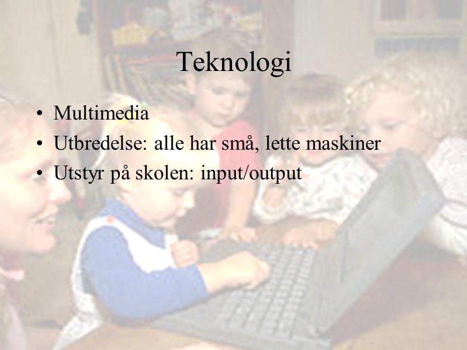 Teknologi Multimedia Utbredelse: alle har små, lette maskiner Utstyr på skolen: input/output