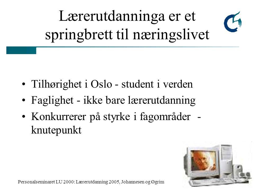 Personalseminaret LU 2000: Lærerutdanning 2005, Johannesen og Øgrim Lærerutdanninga er et springbrett til næringslivet Tilhørighet i Oslo - student i