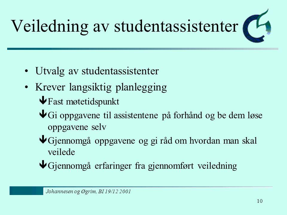 Johannesen og Øgrim, BI 19/12 2001 10 Veiledning av studentassistenter Utvalg av studentassistenter Krever langsiktig planlegging êFast møtetidspunkt