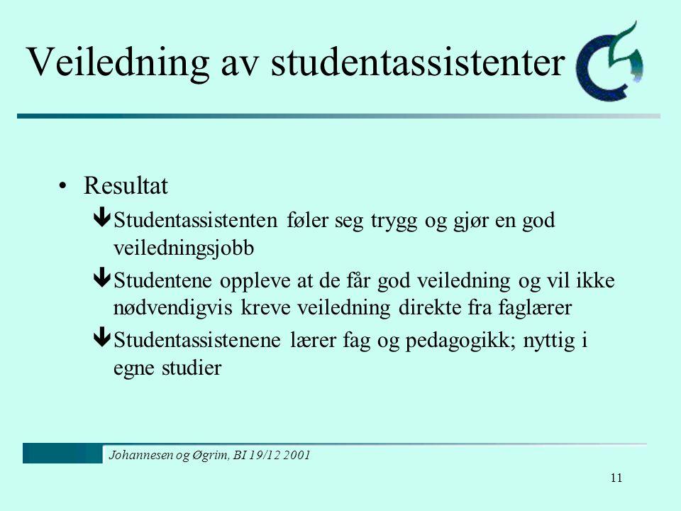 Johannesen og Øgrim, BI 19/12 2001 11 Veiledning av studentassistenter Resultat êStudentassistenten føler seg trygg og gjør en god veiledningsjobb êSt
