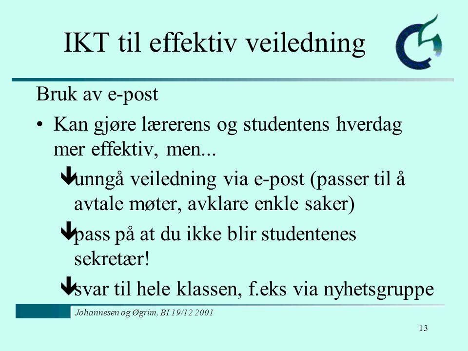 Johannesen og Øgrim, BI 19/12 2001 13 IKT til effektiv veiledning Bruk av e-post Kan gjøre lærerens og studentens hverdag mer effektiv, men...