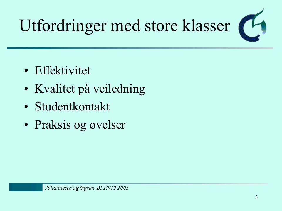 Johannesen og Øgrim, BI 19/12 2001 3 Utfordringer med store klasser Effektivitet Kvalitet på veiledning Studentkontakt Praksis og øvelser