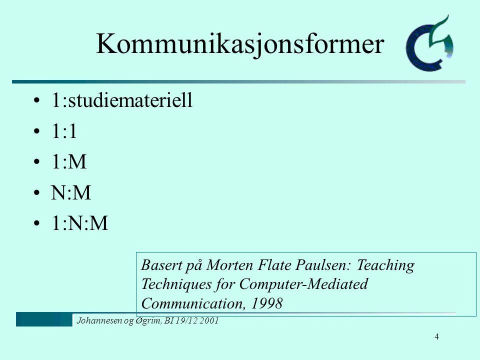 Johannesen og Øgrim, BI 19/12 2001 5 En-til-studiemateriell