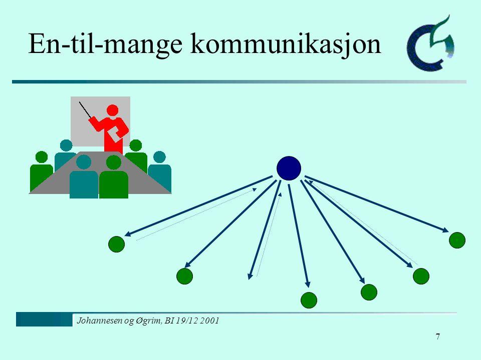 Johannesen og Øgrim, BI 19/12 2001 8 Mange-til-mange kommunikasjon