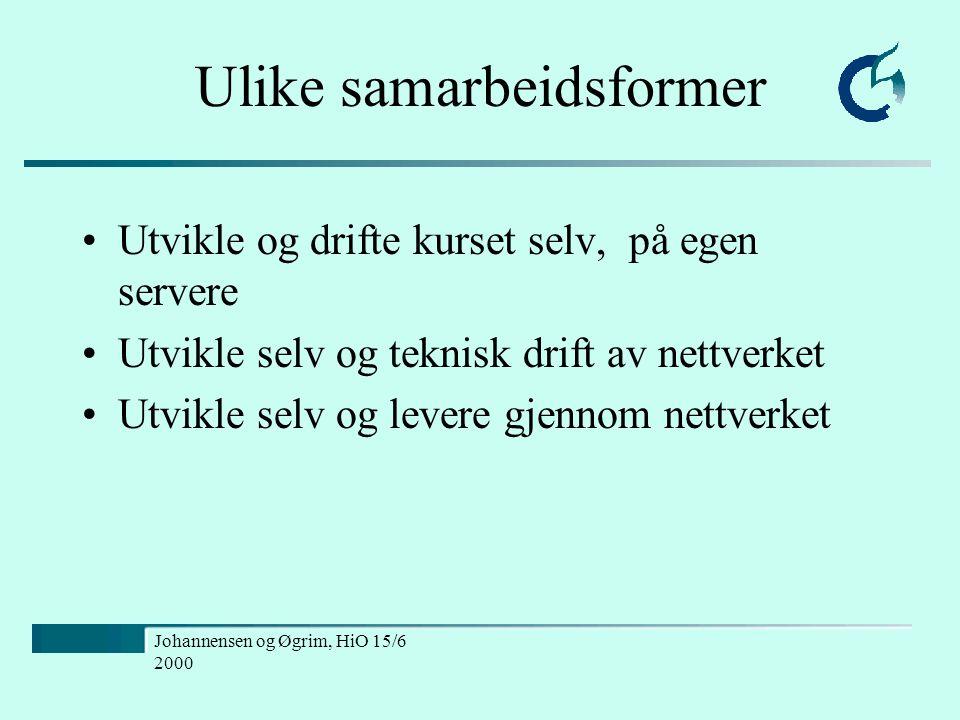 Johannensen og Øgrim, HiO 15/6 2000 Ulike samarbeidsformer Utvikle og drifte kurset selv, på egen servere Utvikle selv og teknisk drift av nettverket Utvikle selv og levere gjennom nettverket