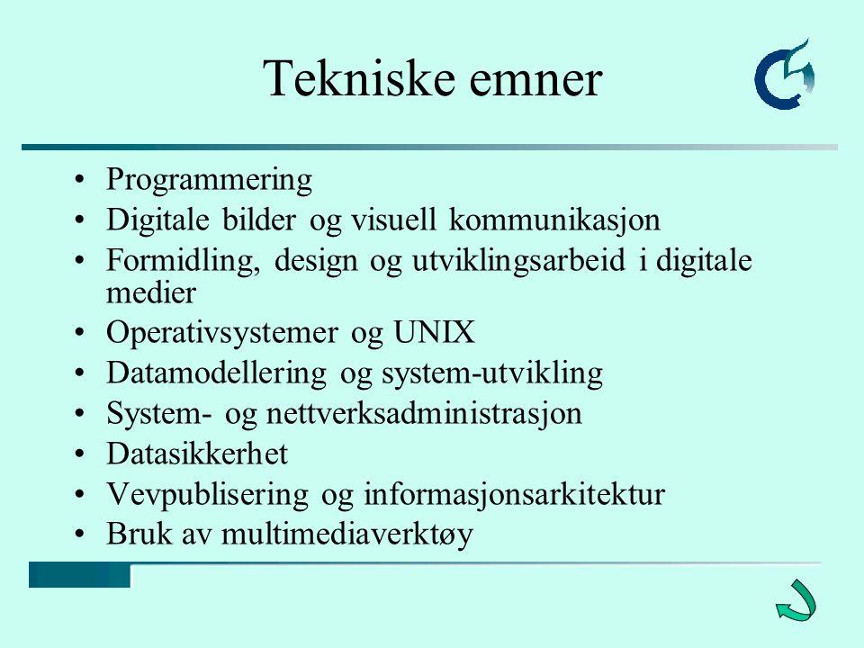 Tekniske emner Programmering Digitale bilder og visuell kommunikasjon Formidling, design og utviklingsarbeid i digitale medier Operativsystemer og UNIX Datamodellering og system-utvikling System- og nettverksadministrasjon Datasikkerhet Vevpublisering og informasjonsarkitektur Bruk av multimediaverktøy