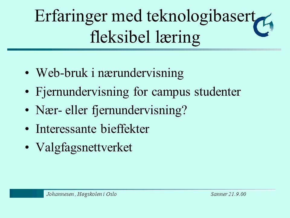 Sanner 21.9.00Johannesen, Høgskolen i Oslo Web-bruk i nærundervisning Effektivitet (for lærere og studenter) –Studenter vet hvor de skal søke informasjon –Orden på kursmateriale, oppgaver og besvarelser –Ansatte deler undervisningsmateriale resultat: vi er flinkere til å dokumentere det vi gjør –Sporbarhet: Ad hoc løsninger er lettere (vikar) Gjesteforelesere kan orientere seg