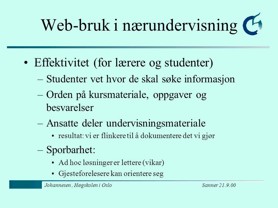 Sanner 21.9.00Johannesen, Høgskolen i Oslo Nett- skolen HiBo HiO NKI HiVe HiØ HiBu ? S S S S S S