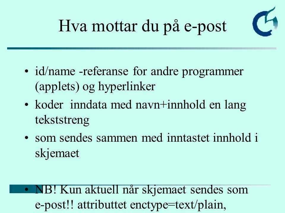 Hva mottar du på e-post id/name -referanse for andre programmer (applets) og hyperlinker koder inndata med navn+innhold en lang tekststreng som sendes sammen med inntastet innhold i skjemaet NB.
