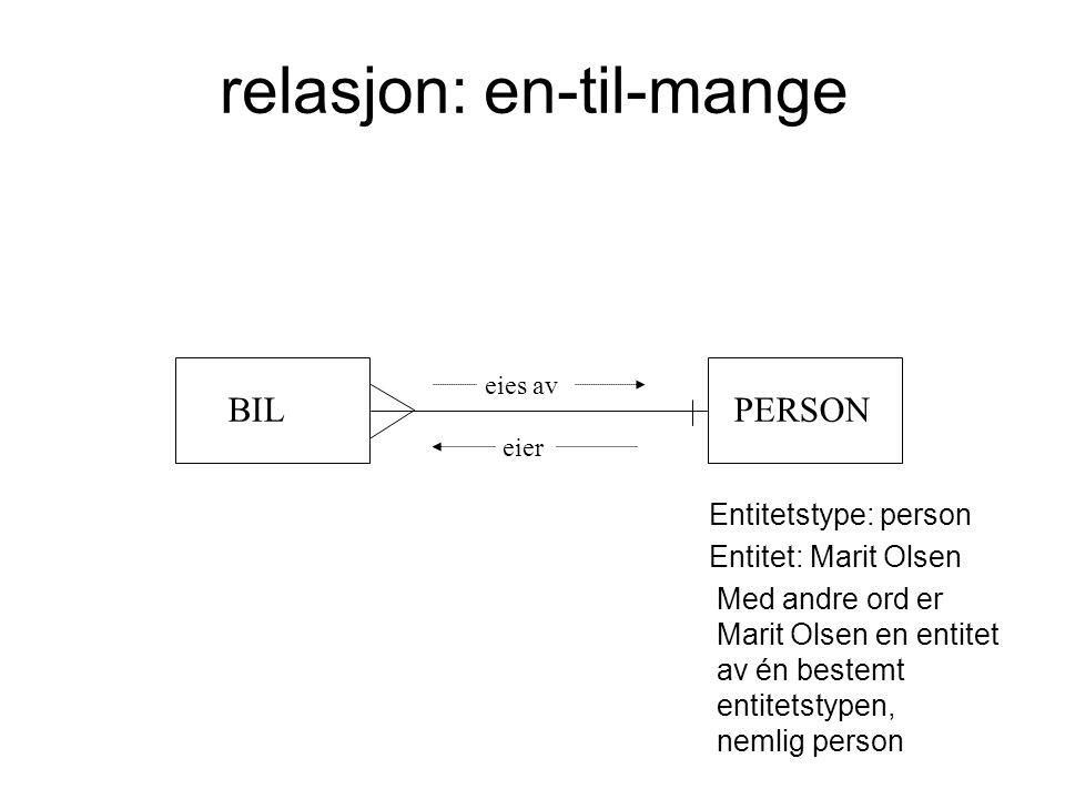 relasjon: en-til-mange BILPERSON eies av eier Entitetstype: person Entitet: Marit Olsen Med andre ord er Marit Olsen en entitet av én bestemt entitets