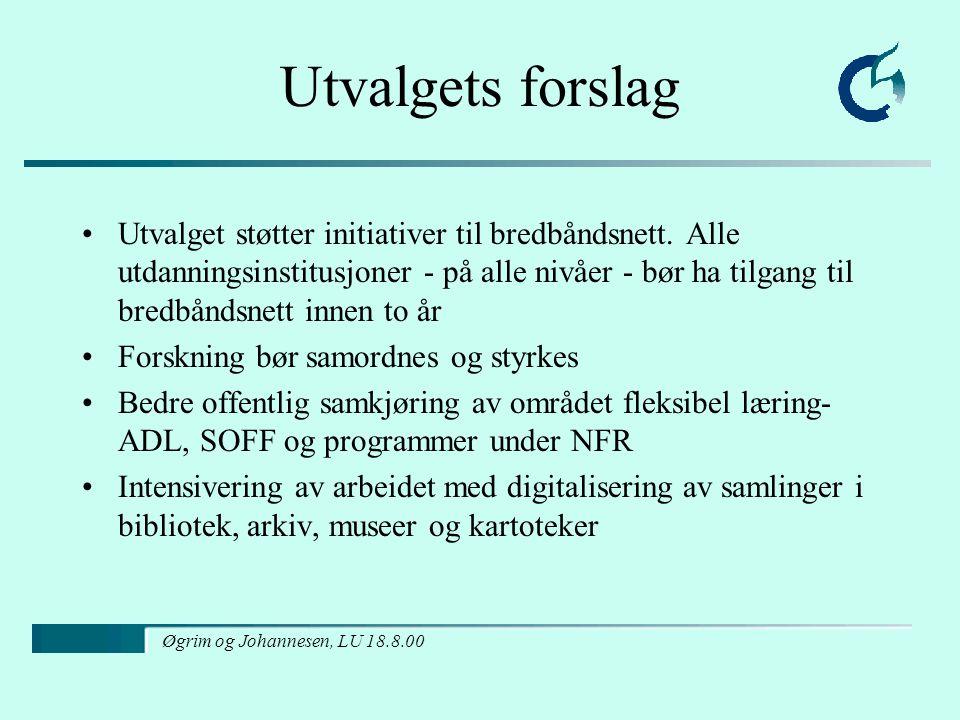 Øgrim og Johannesen, LU 18.8.00 Utvalgets forslag Utvalget støtter initiativer til bredbåndsnett.