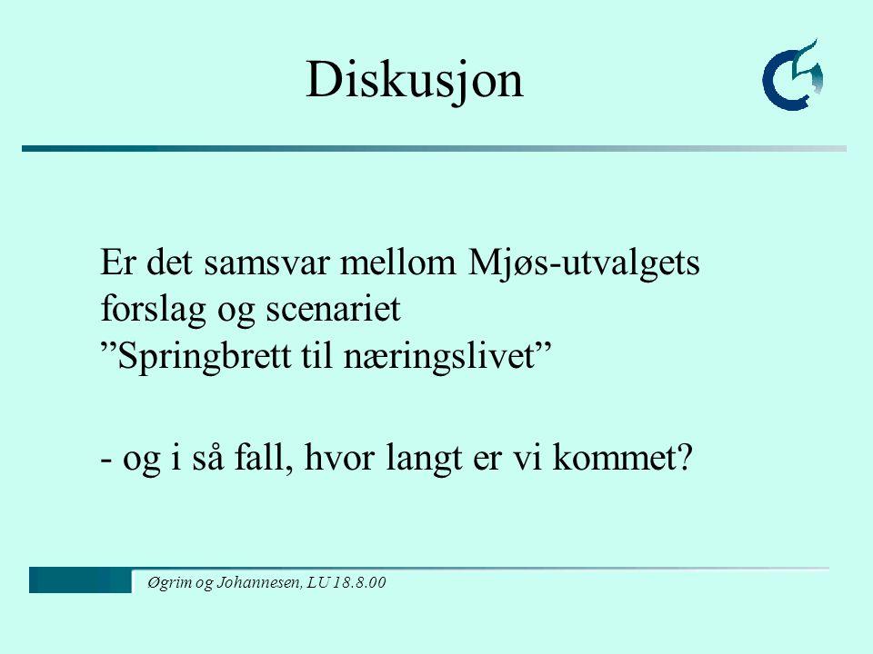 Øgrim og Johannesen, LU 18.8.00 Diskusjon Er det samsvar mellom Mjøs-utvalgets forslag og scenariet Springbrett til næringslivet - og i så fall, hvor langt er vi kommet