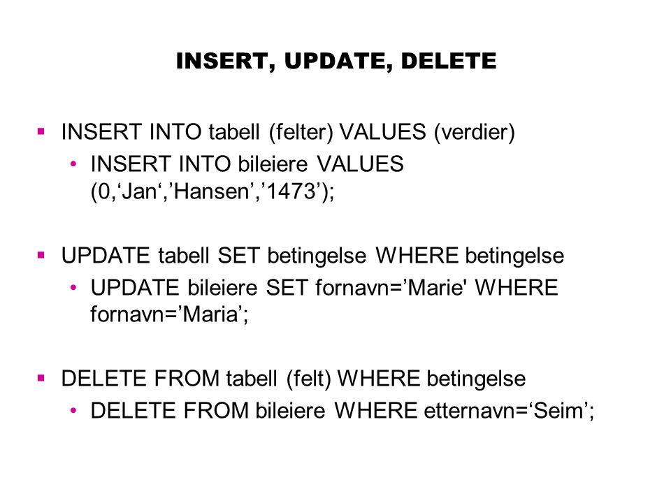 INSERT, UPDATE, DELETE  INSERT INTO tabell (felter) VALUES (verdier) INSERT INTO bileiere VALUES (0,'Jan','Hansen','1473');  UPDATE tabell SET betin