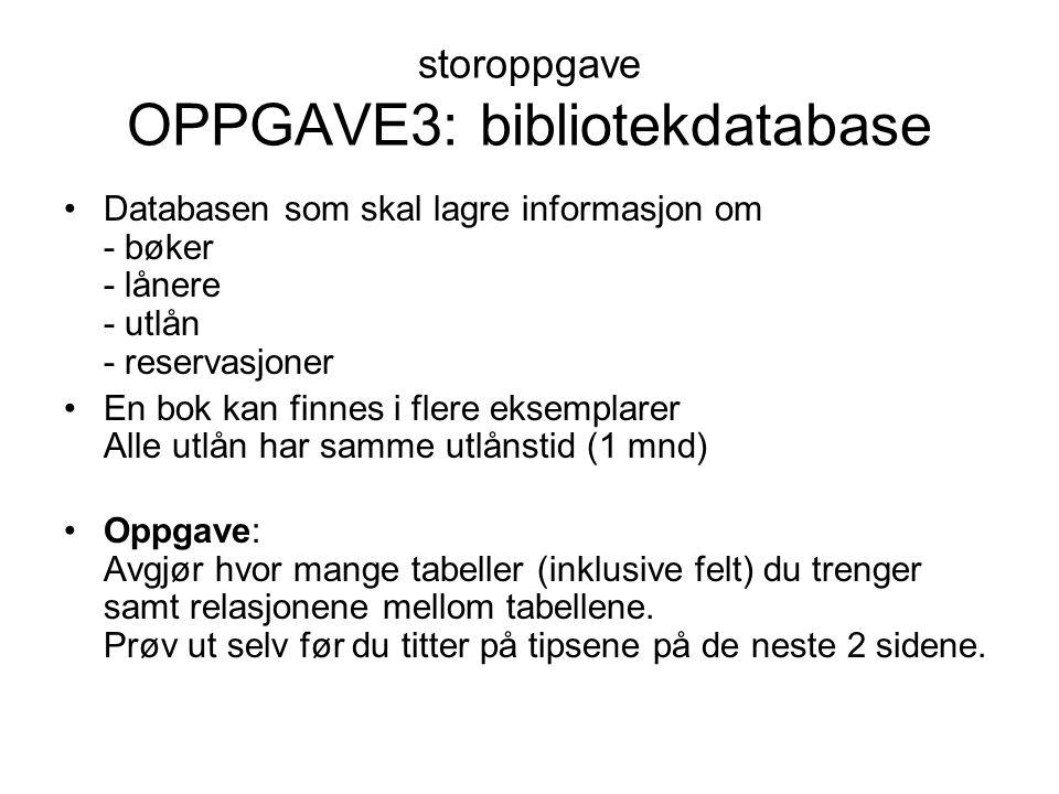 storoppgave OPPGAVE3: bibliotekdatabase Databasen som skal lagre informasjon om - bøker - lånere - utlån - reservasjoner En bok kan finnes i flere eks