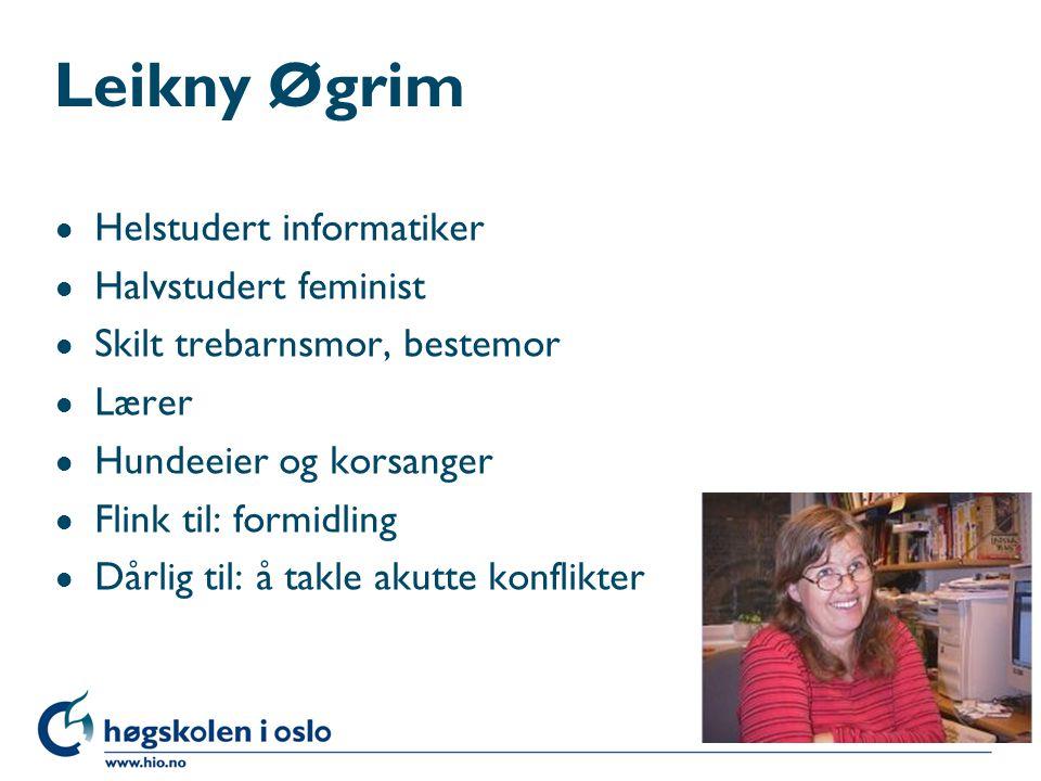 Leikny Øgrim l Helstudert informatiker l Halvstudert feminist l Skilt trebarnsmor, bestemor l Lærer l Hundeeier og korsanger l Flink til: formidling l Dårlig til: å takle akutte konflikter