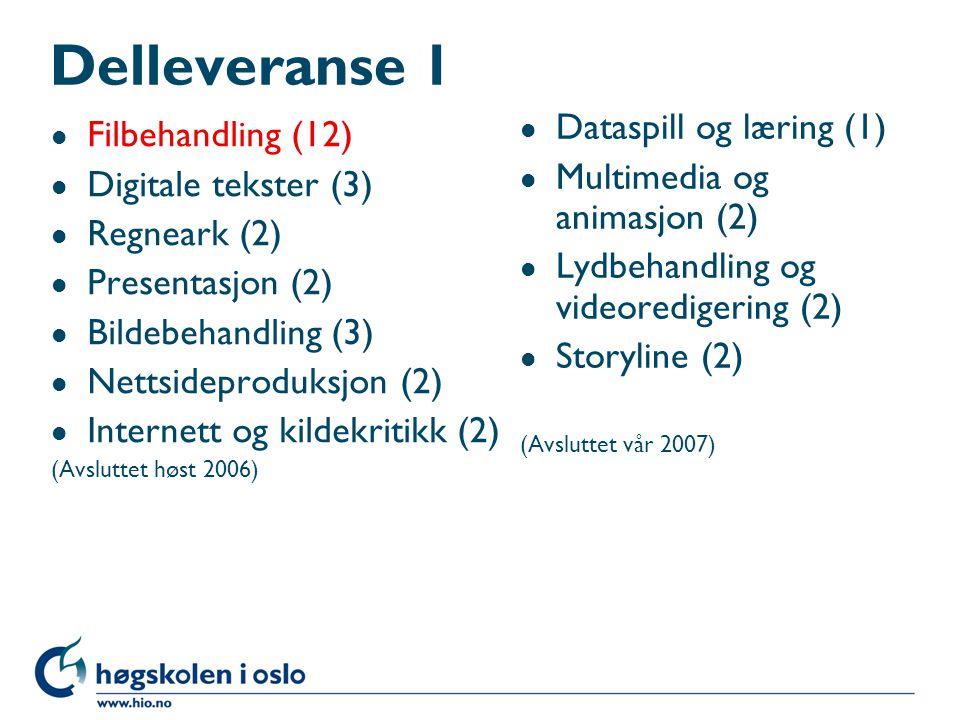 Delleveranse 1 l Filbehandling (12) l Digitale tekster (3) l Regneark (2) l Presentasjon (2) l Bildebehandling (3) l Nettsideproduksjon (2) l Internett og kildekritikk (2) (Avsluttet høst 2006) l Dataspill og læring (1) l Multimedia og animasjon (2) l Lydbehandling og videoredigering (2) l Storyline (2) (Avsluttet vår 2007)