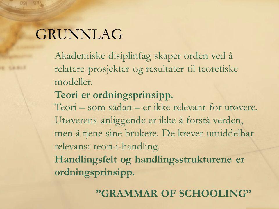 GRUNNLAG Akademiske disiplinfag skaper orden ved å relatere prosjekter og resultater til teoretiske modeller.