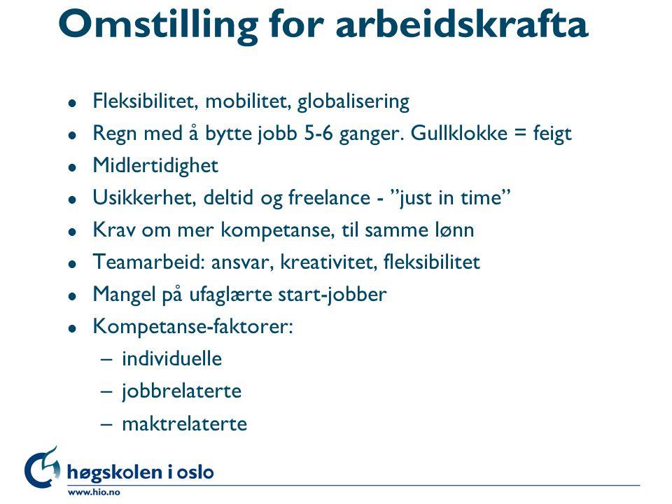Omstilling for arbeidskrafta l Fleksibilitet, mobilitet, globalisering l Regn med å bytte jobb 5-6 ganger. Gullklokke = feigt l Midlertidighet l Usikk