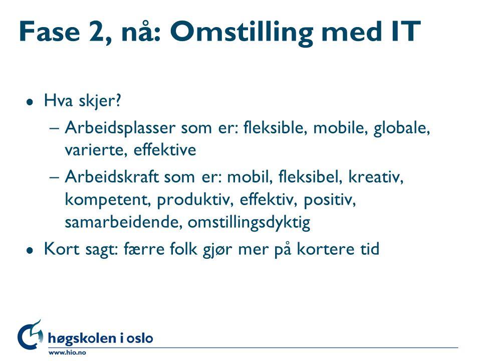 Fase 2, nå: Omstilling med IT l Hva skjer? –Arbeidsplasser som er: fleksible, mobile, globale, varierte, effektive –Arbeidskraft som er: mobil, fleksi