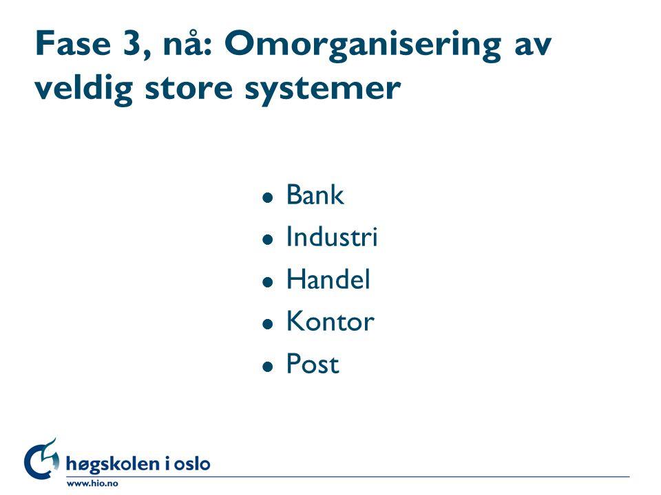 Fase 3, nå: Omorganisering av veldig store systemer l Bank l Industri l Handel l Kontor l Post
