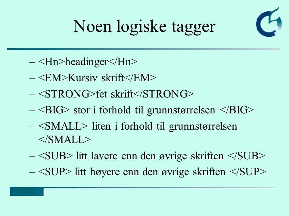 Noen logiske tagger – headinger – Kursiv skrift – fet skrift – stor i forhold til grunnstørrelsen – liten i forhold til grunnstørrelsen – litt lavere