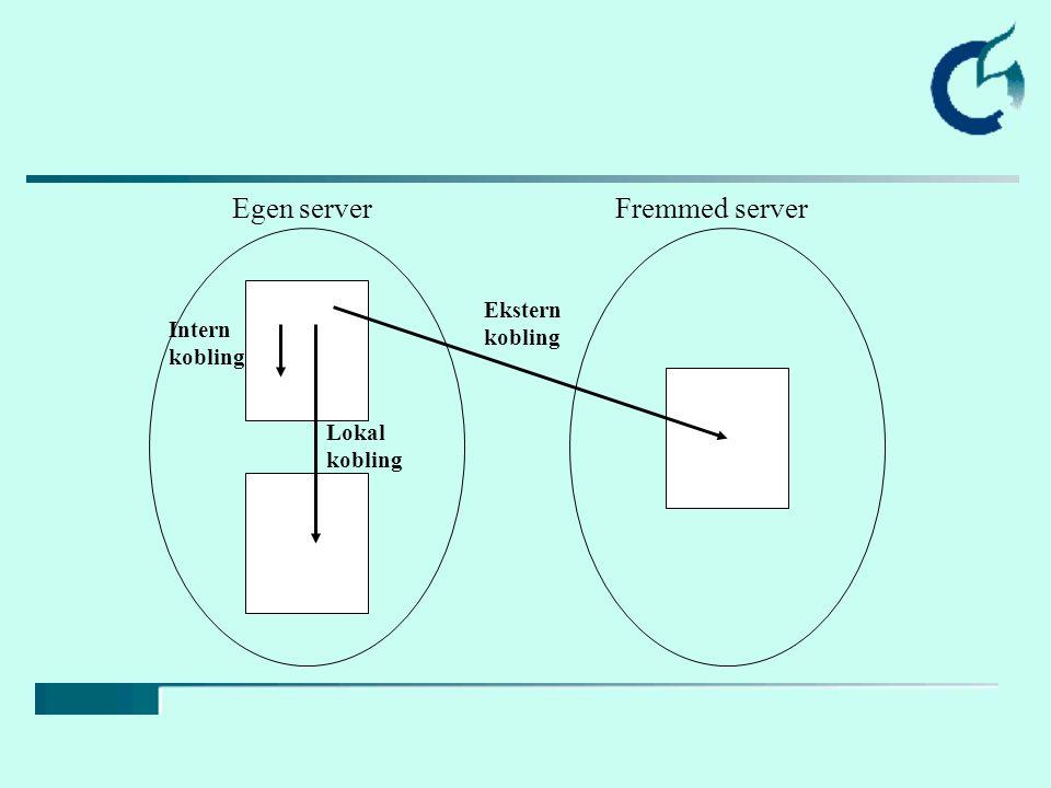 Egen serverFremmed server Intern kobling Lokal kobling Ekstern kobling
