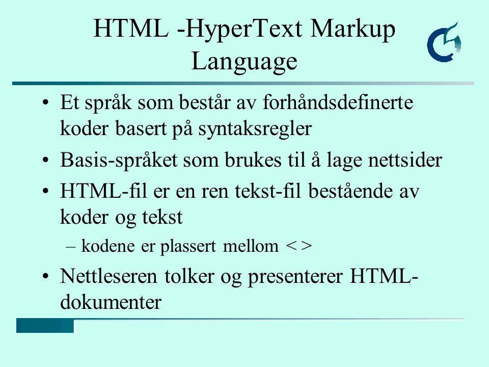 HTML -HyperText Markup Language Et språk som består av forhåndsdefinerte koder basert på syntaksregler Basis-språket som brukes til å lage nettsider H