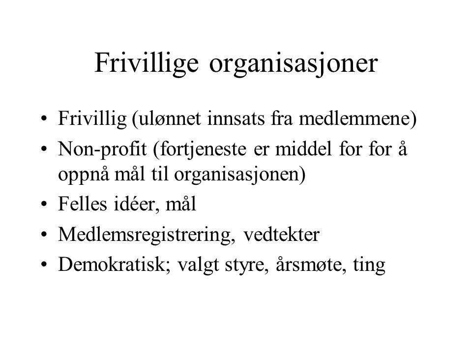 Frivillige organisasjoner Frivillig (ulønnet innsats fra medlemmene) Non-profit (fortjeneste er middel for for å oppnå mål til organisasjonen) Felles