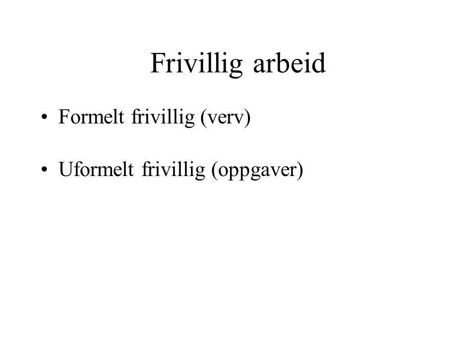 Frivillig arbeid Formelt frivillig (verv) Uformelt frivillig (oppgaver)